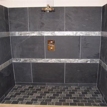 shower area in charcoal black slate