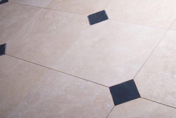 ivory travertine with slate inserts