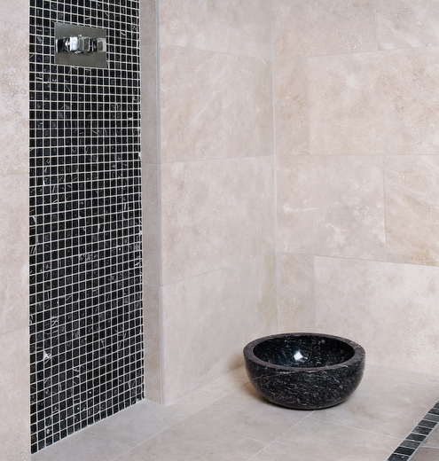 heritage white with black marble mosaic tiles