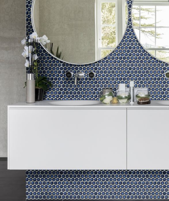 yoga penny deep blue mosaic porcelain tiles