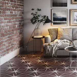 lily pad plum encaustic tiles